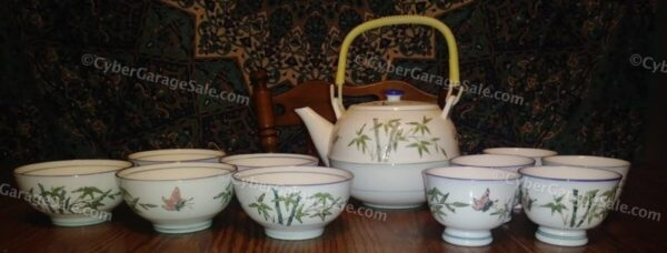 Butterfly and Bamboo Pattern Porcelain Tea Set