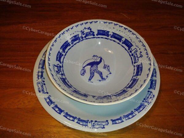 """Stavangerflint Norway """"Kari"""" Boy Blue Bowl and Plate"""