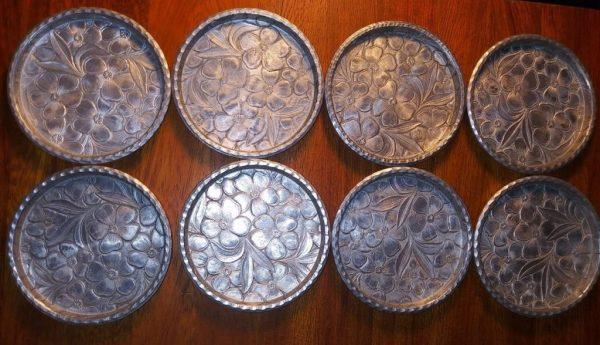 Everlast Forged Aluminum Coasters Dogwood Pattern Set of 8 Mid-Century Vintage