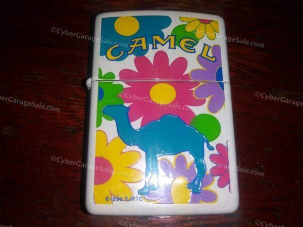"""Vintage 1996 Camel Cigarettes """"Flower Power"""" Zippo Lighter in Tin Box Brand New"""