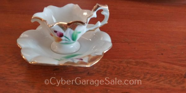 Tiny Floral Teacup White with Gold trim