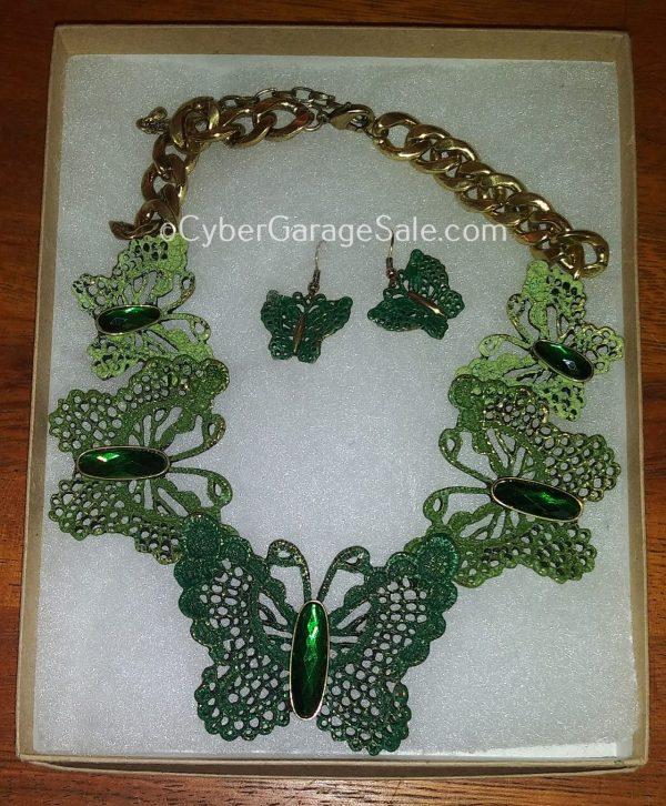Green Butterfly Necklace & Earrings Set