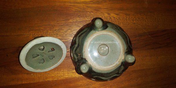 Somayaki Sugar Dish Vintage Japanese Pottery Hearts and Horses