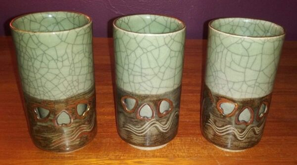 3 tall Somayaki Ware Cups or Glasses Made in Japan