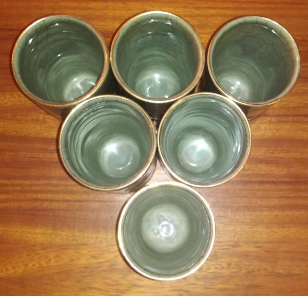 6 tall Somayaki Ware Cups or Glasses - Made in Japan