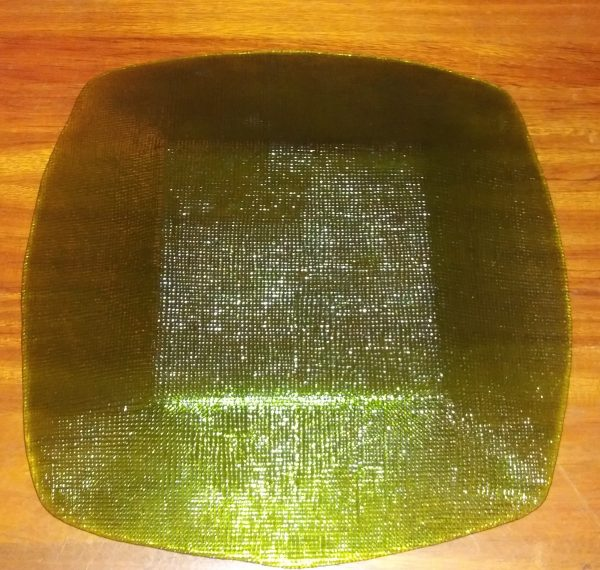 Vintage Green MCM Textured Glass Square Plate and Dip Bowl Serving Set