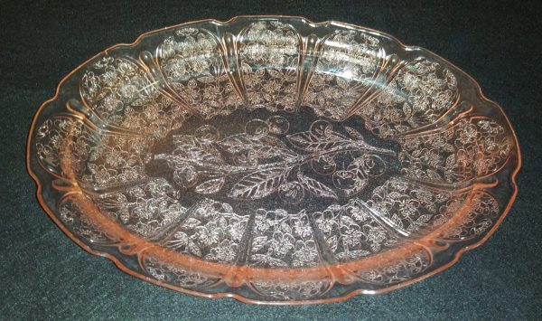 Jeanette Pink Depression Glass Oval Serving Plate or Tray