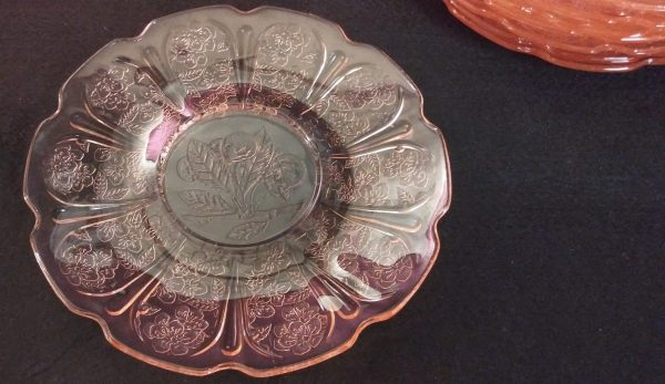 """Jeanette Glass Co Vintage Cherry Blossom Pink Depression Glass 5.75"""" Saucer"""