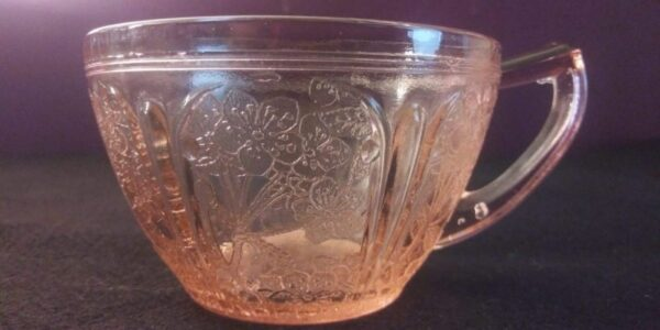 """Jeanette Glass Co Pink Depression Glass 3.5"""" diameter Teacups"""