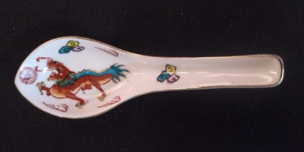"""Hand Painted Vintage Luo Sen Red Dragon T/M 839569 Chinese Restaurant Ware 5 1/2"""" Soup Spoon"""
