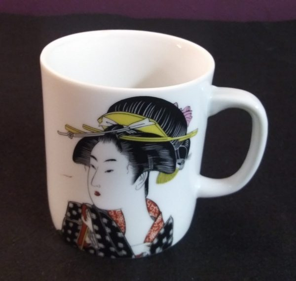 1d Black Kimono Geisha Mug